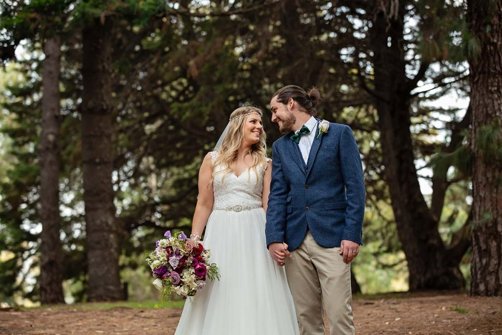 pine forest boho bride and groom perth