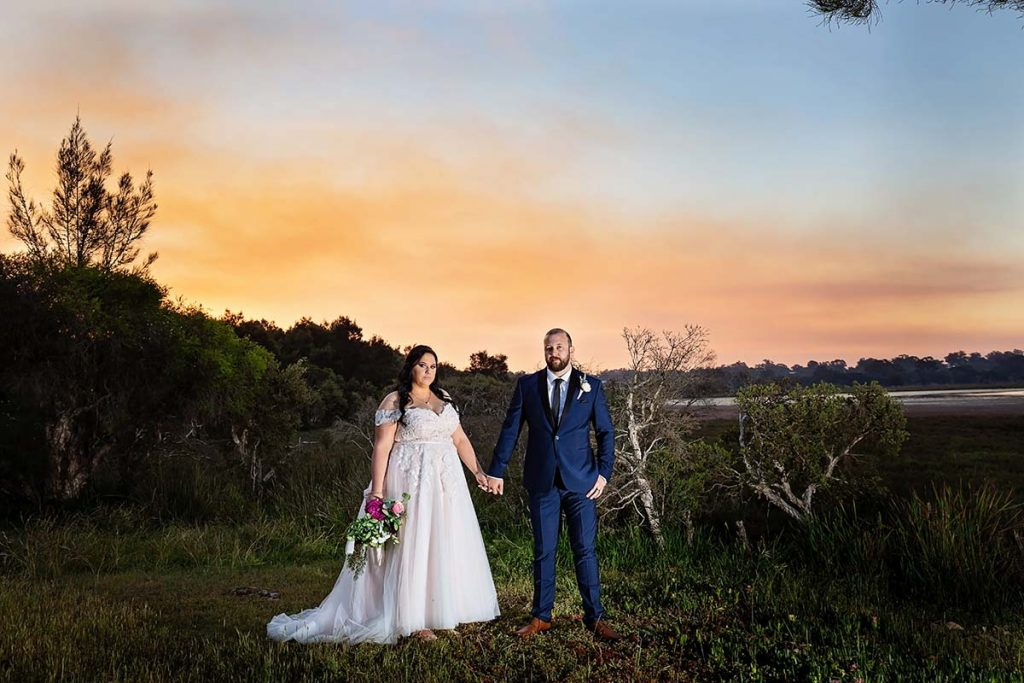 Sunset of Bride and Groom at mandurah wedding