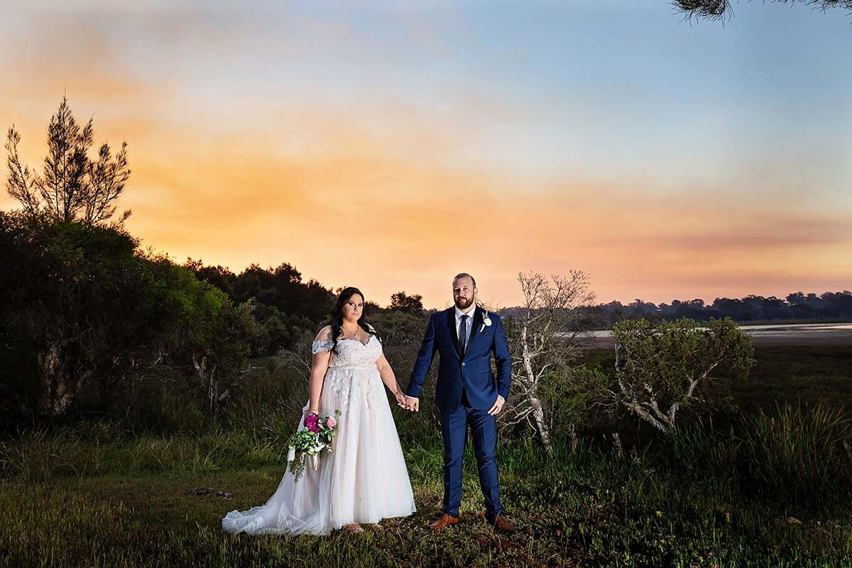 Sunset of Bride and Groom at mandurah wedding