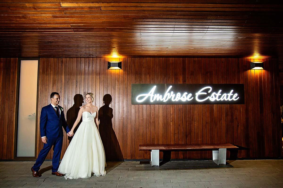 Wedding Ambrose Bride and groom walking